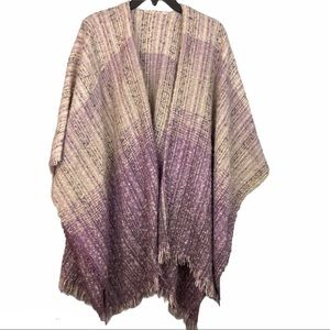 Simply Noelle Fringe Wrap Top Purple and White OS